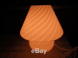 Vtg 10 Tall Mid Century Modern Venini Vetri Murano Glass Swirl Mushroom Lamp