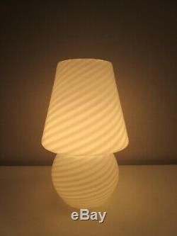 Vtg 12 Mid Century Modern Venini Vetri Murano Glass Swirl Mushroom Lamp