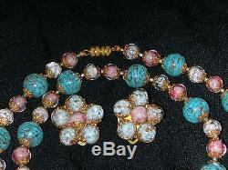 Vtg 1940/50's 55in Murano Venetian Glass Lampwork Bead Necklace w Earrings Set