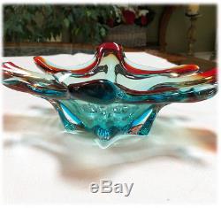 Vtg 1960s Murano Sommerso Art Glass BOWL Red Turquoise Blue ITALY Venetian Label