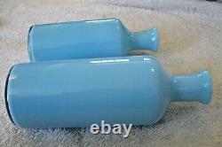 Vtg 2 Carlo Moretti Murano Blue Italian Art Glass Decanter Bottles/VasesLabeled