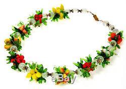Vtg 30's Venetian Murano Hand Blown Fruit Salad Glass Necklace