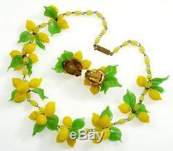 Vtg 30's Venetian Murano Hand Blown Glass Lemons Necklace Earrings Set