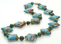 Vtg 50's Murano Venetian Turquoise Aventurine Glass Cushion Bead Necklace