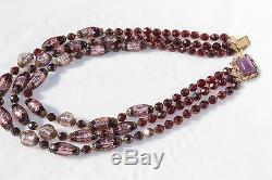 Vtg ART DECO Italian VENETIAN MURANO Art Glass Beaded Necklace Foil back beads