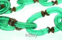 Vtg Archimede SEGUSO for Chanel Italian Murano Emerald Glass Rhinestone NECKLACE