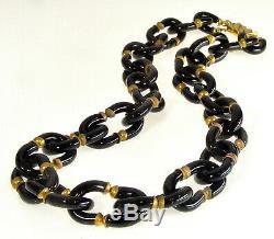 Vtg Archimede Seguso For Chanel Murano Venetian Black Glass Necklace
