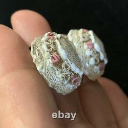 Vtg Art Deco Murano Latticino Wedding Cake Venetian Glass Bead Necklace Earrings