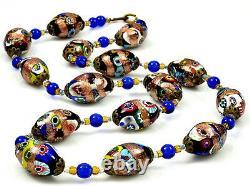 Vtg Art Deco Murano Venetian Millefiori Aventurine Glass Bead Necklace