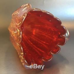 Vtg Barovier Toso Murano Cordonato Bubbles Pink Iridescent Glass Vase Venini St