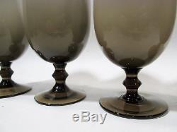 Vtg CARLO MORETTI Murano MIDCENTURY Smoke BRONZE Brown 4 Ice Tea Goblets