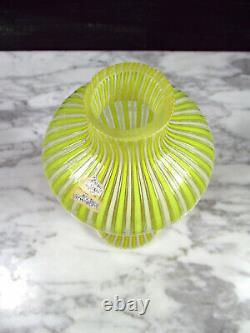 Vtg Fratelli Toso'a Canne' Filigrana Italian Murano Art Glass Vase Yellow White