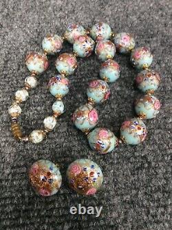 Vtg. Italian venetian murano Pink Blue wedding cake glass bead necklace Earrings