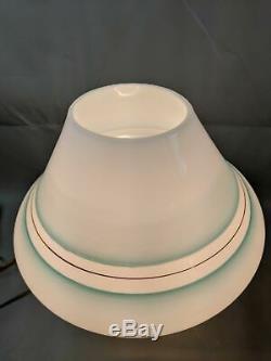 Vtg Large 15 Mid Century Modern Murano Green Stripe Mushroom Glass Table Lamp