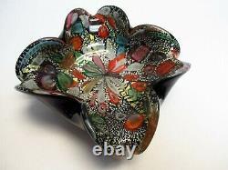 Vtg MURANO Art Glass BOWL ASH TRAYBlack Cased FoldedSilver FoilTutti Frutt