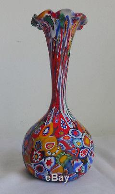 Vtg Mid C Itali Art Glass Fratelli Toso Murano Millefiori Mosaic Fluted 8 Vase