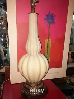 Vtg Mid Cent MURANO MCM ITALIAN RIBBED Art Glass Lamp HOLLYWOO REGENCY