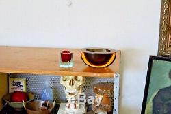 Vtg Mid Century Italian Modern Murano Sommerso Glass Geode Bowl Cenedese Italy