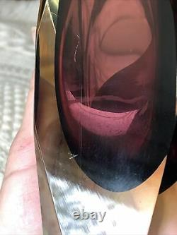 Vtg Murano Alessandro Mandruzzato San Marco Faceted Sommerso Glass Vase 8.25