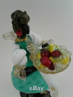 Vtg Murano Glass Barovier & Toso Blackamoor Figurine 10.25 x 5.25