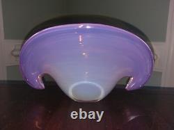Vtg Murano Glass Clam Shell Vase Bowl Archimede Seguso Handblown Venetian Pink