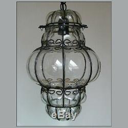 Vtg Murano Hand Blown Caged Glass Venetian Lantern Hanging Ceiling Light Lamp
