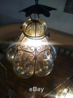 Vtg Murano Hand Blown Caged Glass Venetian Lantern Hanging Ceiling Light Lamp 2
