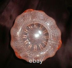 Vtg Murano Italy Art Glass Cased Pink/white Stippled Folded Vase/rose Bowl/dish