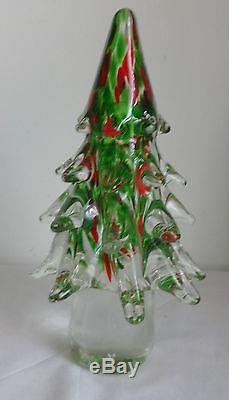 Vtg Murano Large Clear Green Red Crystal Art Glass 8'' Figurine Christmas Tree