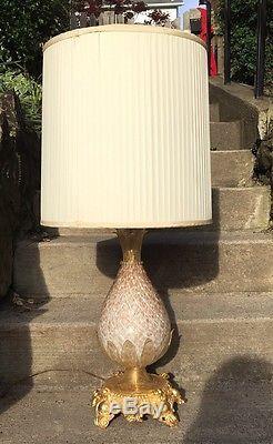 Vtg Pineapple Lamp MURANO Gold Leaf Fleck Cased Glass Hand Blown Copper Italy
