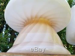 Vtg Rare Mid Century Pair Set Murano Venini Mushroom Glass Table Lamp Pink Swirl