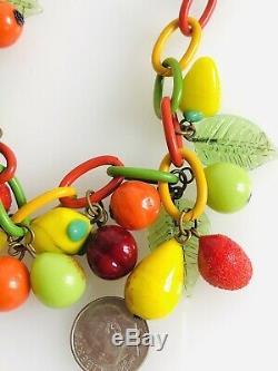 Vtg Tutti Frutti Retro Festive Venetian Murano Art Glass Fruit & Leaves Necklace