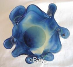 Vtg VENINI FAZZOLETTO Handkerchief Glass Vase. Wavy Modern Murano Italian RARE