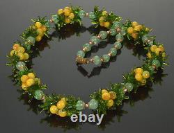 Vtg Venetian Murano Fruit Salad Glass Necklace C. 1950