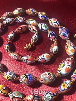 Vtg Venetian Murano Moretti Millefiori Glass Bead Necklace Hand Knotted
