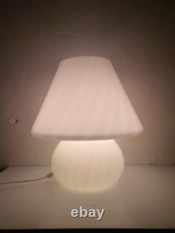 XXL Vintage Murano Swirl Glass Mushroom Table Lamp / White Textured Glass / 70s