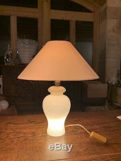 Yellow Murano Glass Swirl Vintage Table Lamp from Venini, 1970s